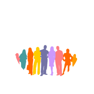 Multi-coloured image of a group of people