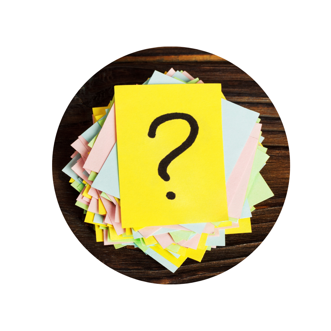 Yellow post-it note with a black question mark on
