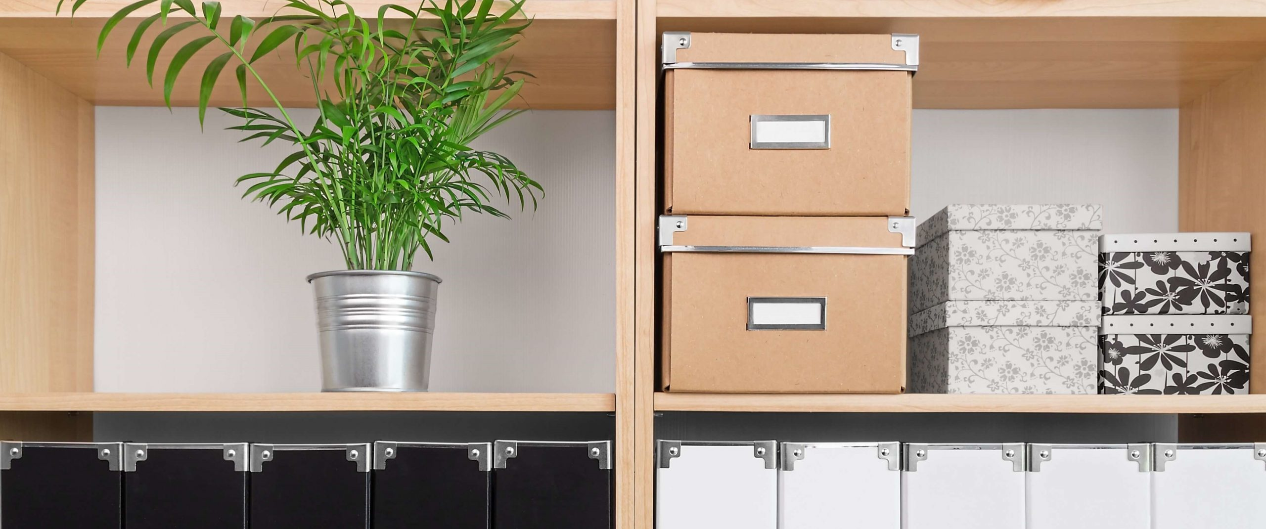 Shelves showing how to declutter and organise your life